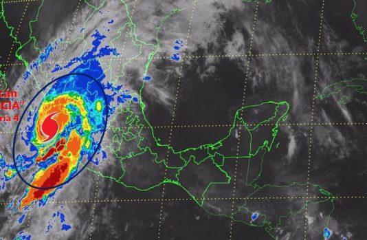 Mapa meteológico del Huracán Patricia